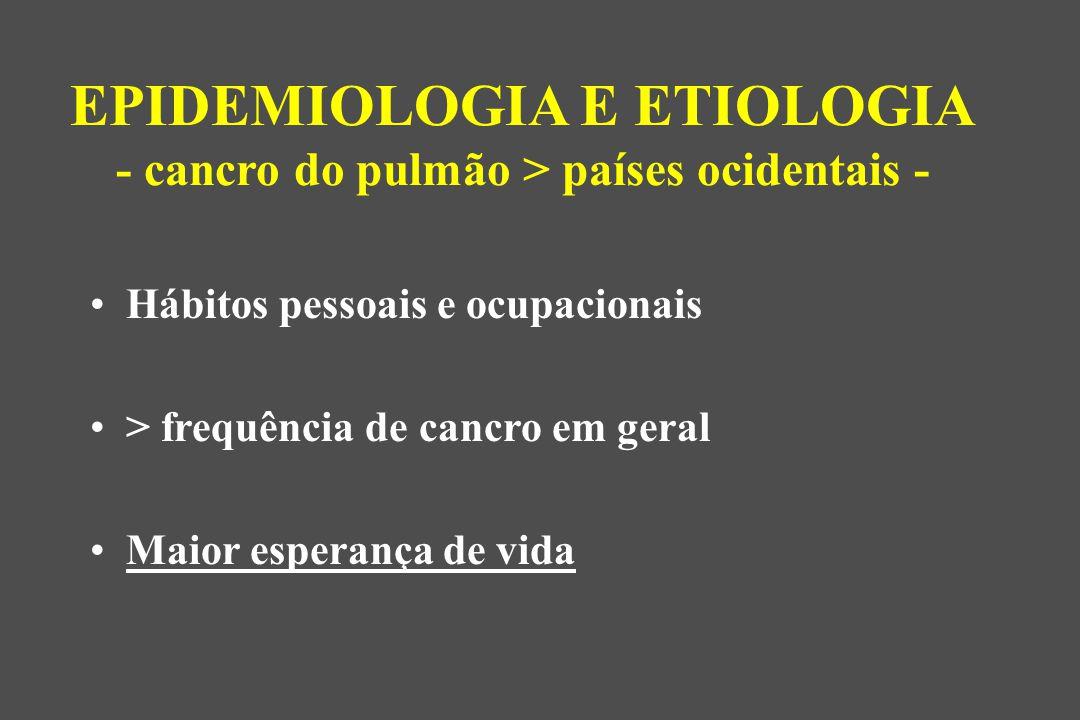 EPIDEMIOLOGIA E ETIOLOGIA - cancro do pulmão > países ocidentais -