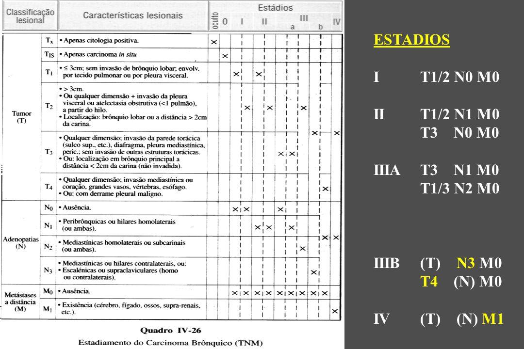 ESTADIOS I T1/2 N0 M0. II T1/2 N1 M0. T3 N0 M0. IIIA T3 N1 M0. T1/3 N2 M0. IIIB (T) N3 M0.