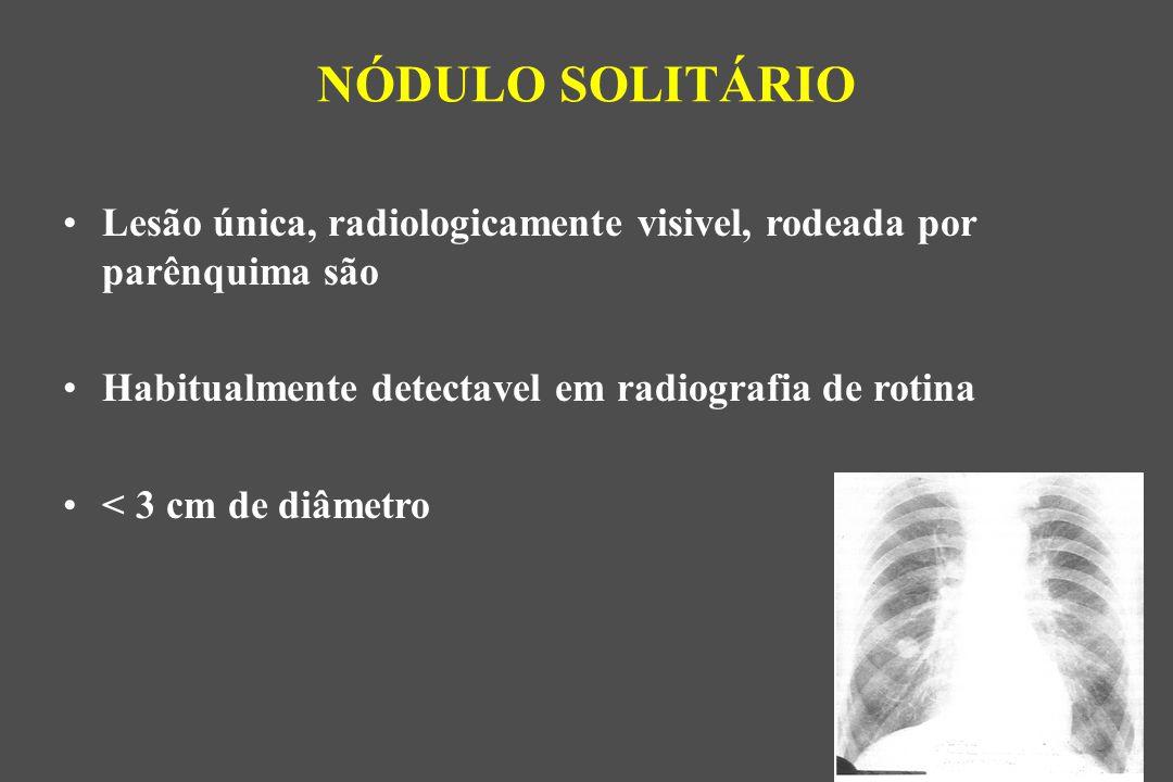 NÓDULO SOLITÁRIO Lesão única, radiologicamente visivel, rodeada por parênquima são. Habitualmente detectavel em radiografia de rotina.