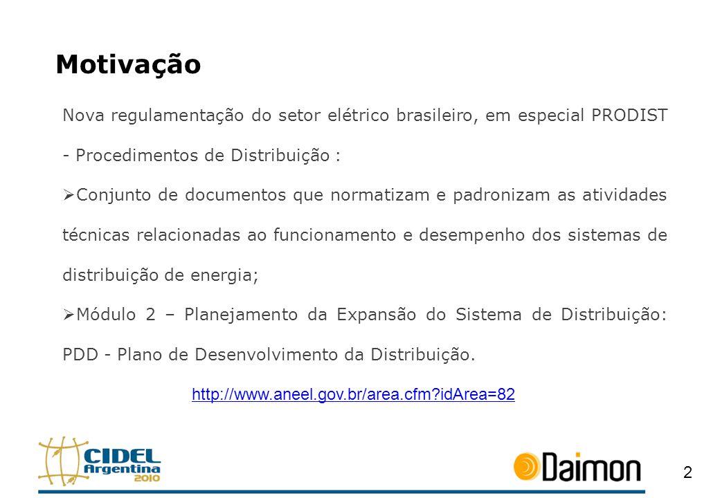 Motivação Nova regulamentação do setor elétrico brasileiro, em especial PRODIST - Procedimentos de Distribuição :