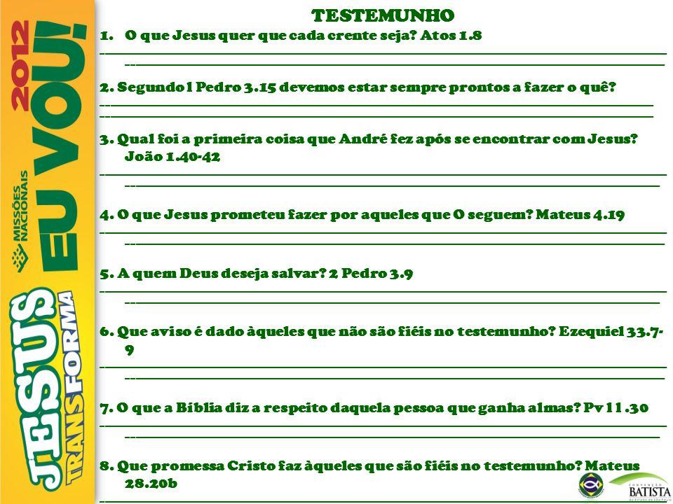 TESTEMUNHO O que Jesus quer que cada crente seja Atos 1.8