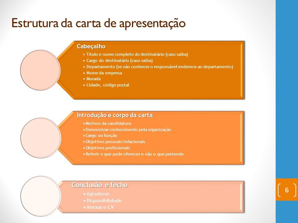 Estrutura da carta de apresentação