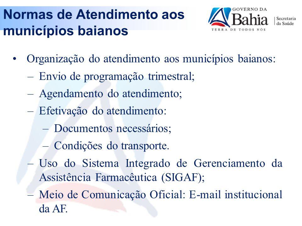 Normas de Atendimento aos municípios baianos
