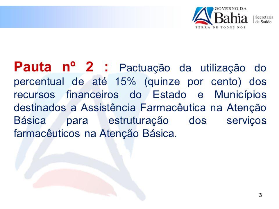Pauta nº 2 : Pactuação da utilização do percentual de até 15% (quinze por cento) dos recursos financeiros do Estado e Municípios destinados a Assistência Farmacêutica na Atenção Básica para estruturação dos serviços farmacêuticos na Atenção Básica.