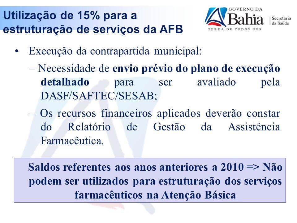 Utilização de 15% para a estruturação de serviços da AFB