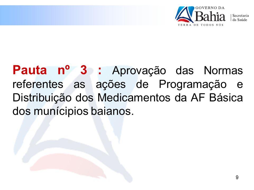 Pauta nº 3 : Aprovação das Normas referentes as ações de Programação e Distribuição dos Medicamentos da AF Básica dos munícipios baianos.