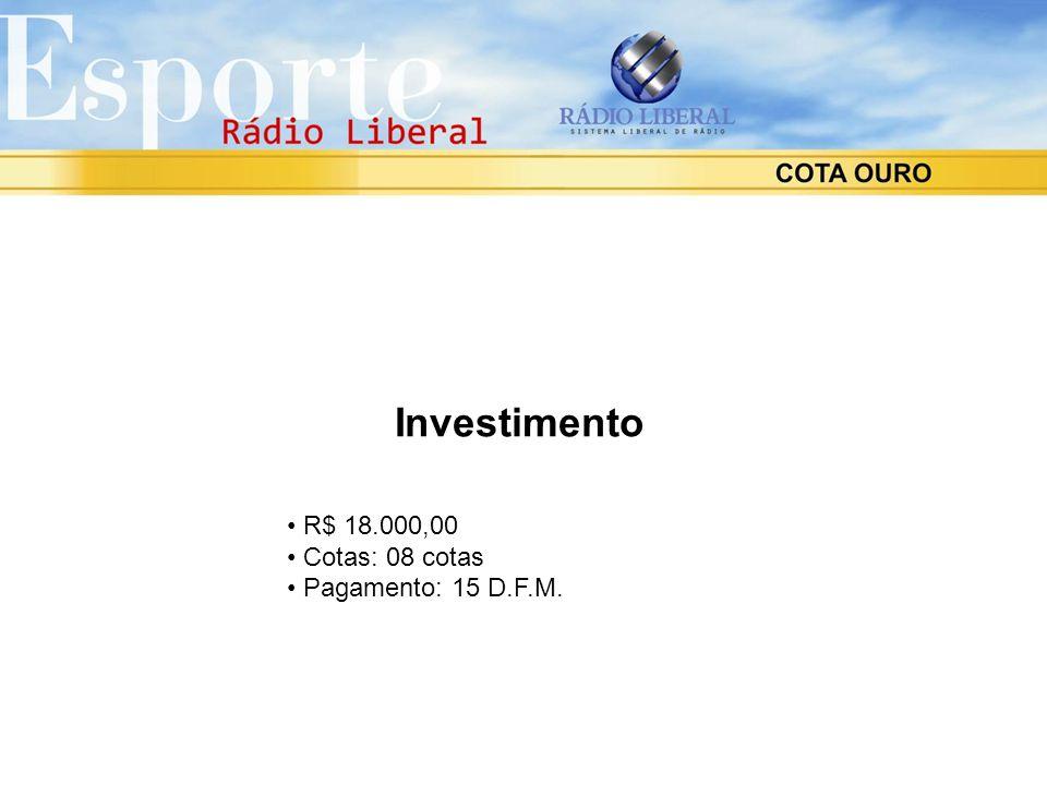 Investimento R$ 18.000,00 Cotas: 08 cotas Pagamento: 15 D.F.M.