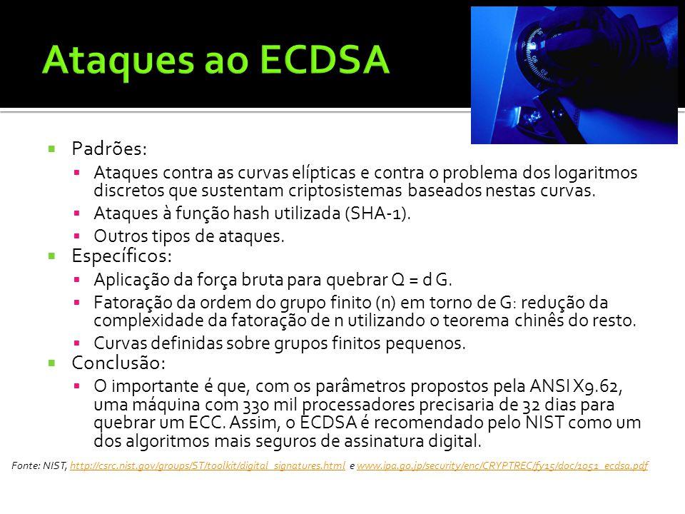 Ataques ao ECDSA Padrões: Específicos: Conclusão: