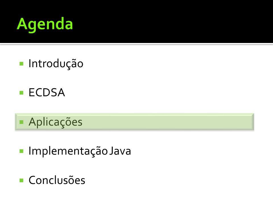 Agenda Introdução ECDSA Aplicações Implementação Java Conclusões