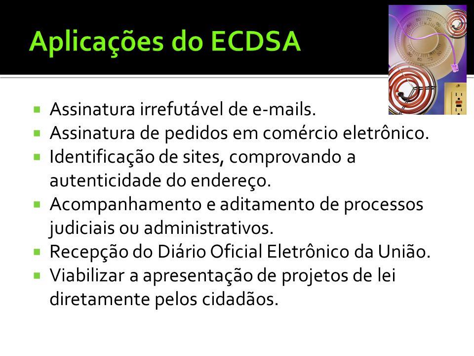 Aplicações do ECDSA Assinatura irrefutável de e-mails.