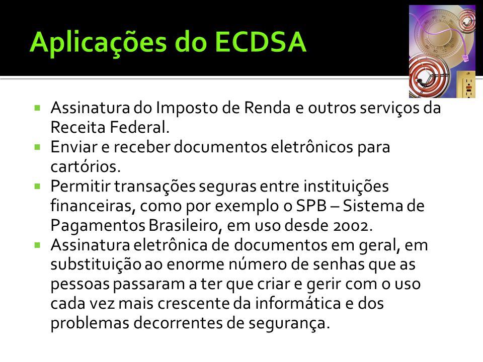 Aplicações do ECDSA Assinatura do Imposto de Renda e outros serviços da Receita Federal. Enviar e receber documentos eletrônicos para cartórios.
