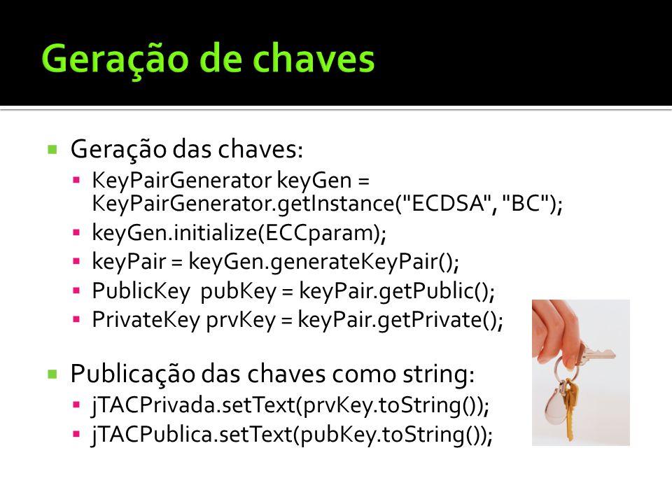 Geração de chaves Geração das chaves: