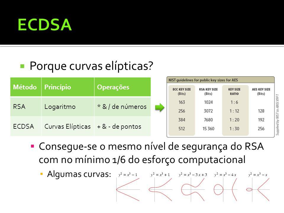 ECDSA Porque curvas elípticas