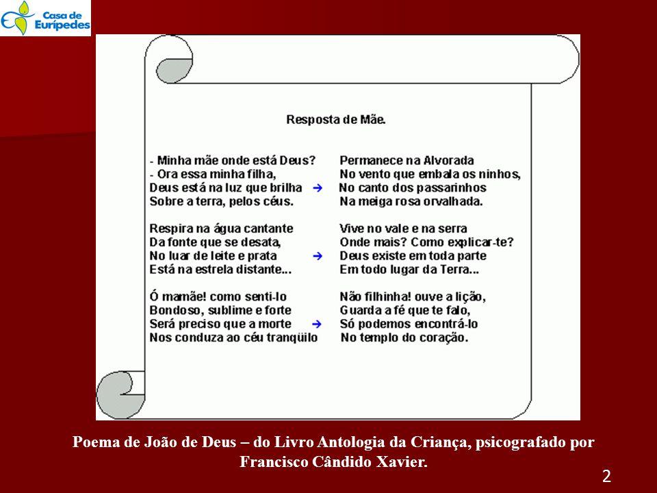 Poema de João de Deus – do Livro Antologia da Criança, psicografado por Francisco Cândido Xavier.