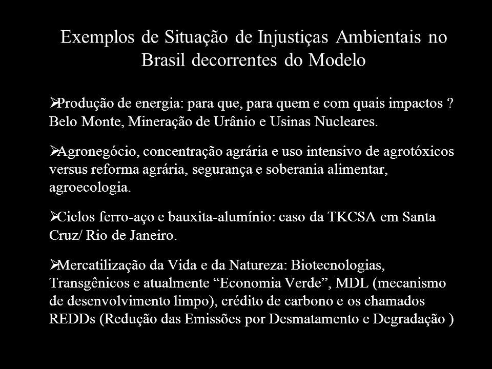 Exemplos de Situação de Injustiças Ambientais no Brasil decorrentes do Modelo