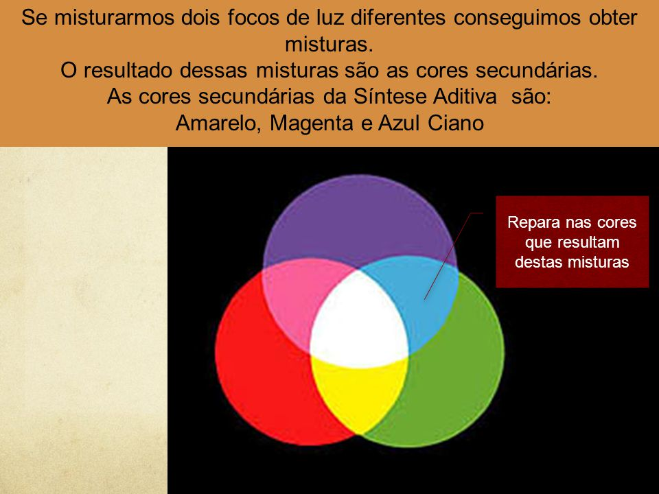 O resultado dessas misturas são as cores secundárias.