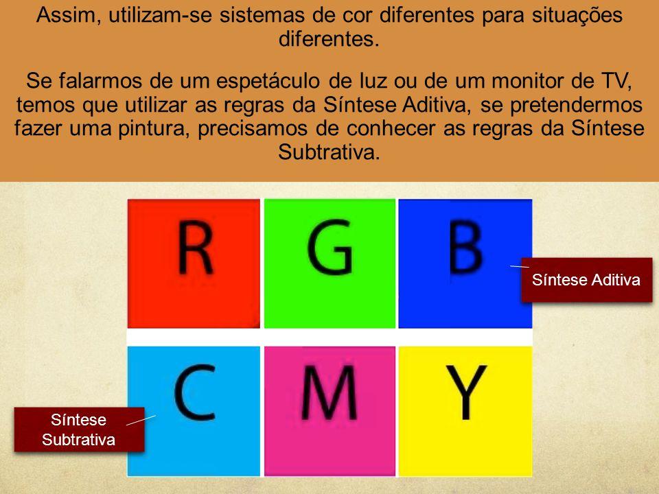 Assim, utilizam-se sistemas de cor diferentes para situações diferentes.