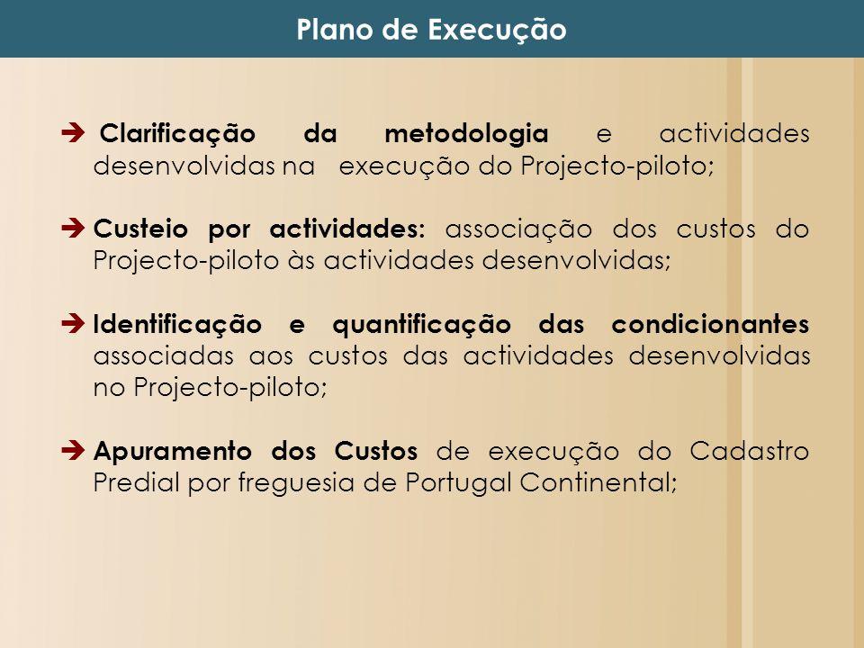 Plano de Execução Clarificação da metodologia e actividades desenvolvidas na execução do Projecto-piloto;
