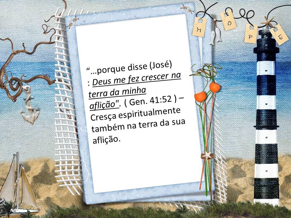 …porque disse (José) : Deus me fez crescer na terra da minha aflição