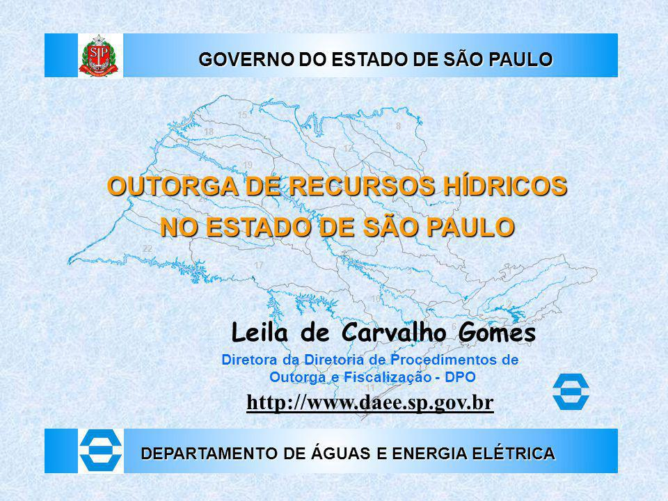OUTORGA DE RECURSOS HÍDRICOS NO ESTADO DE SÃO PAULO