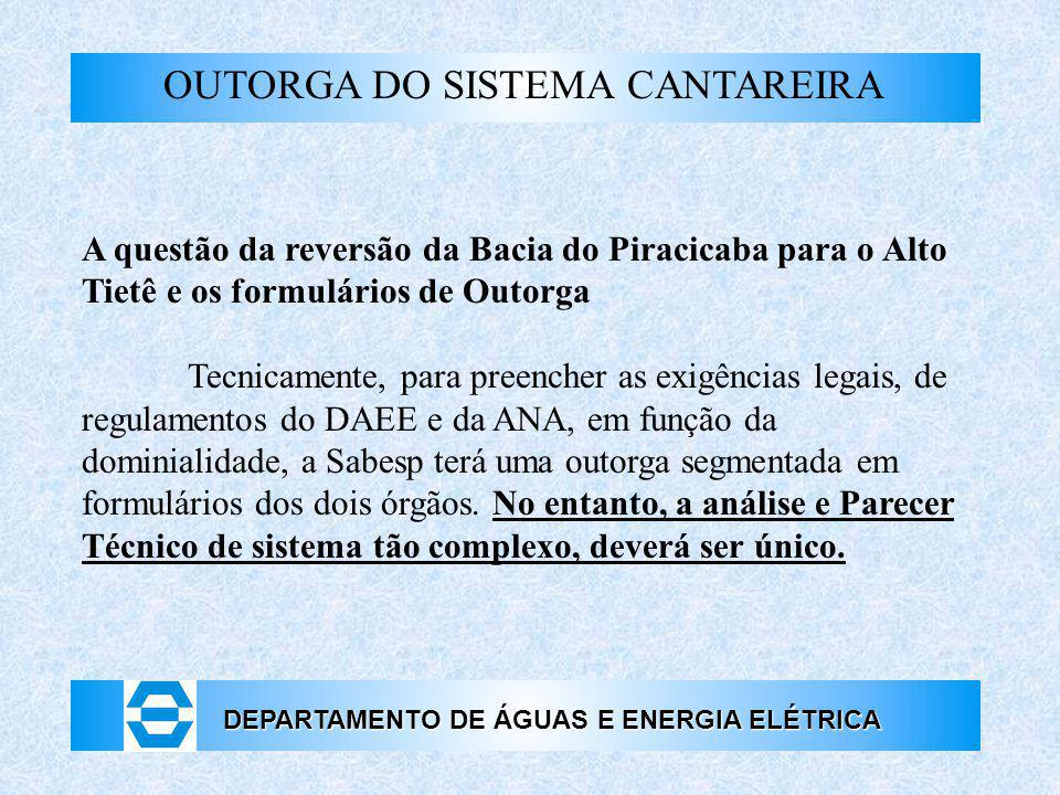 OUTORGA DO SISTEMA CANTAREIRA