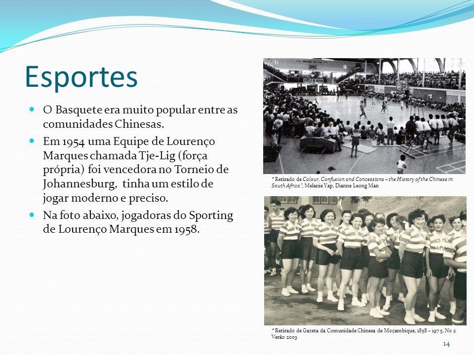 Esportes O Basquete era muito popular entre as comunidades Chinesas.