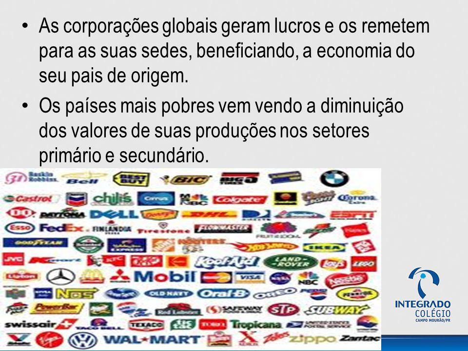As corporações globais geram lucros e os remetem para as suas sedes, beneficiando, a economia do seu pais de origem.