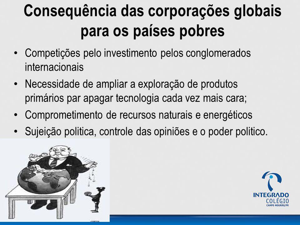 Consequência das corporações globais para os países pobres