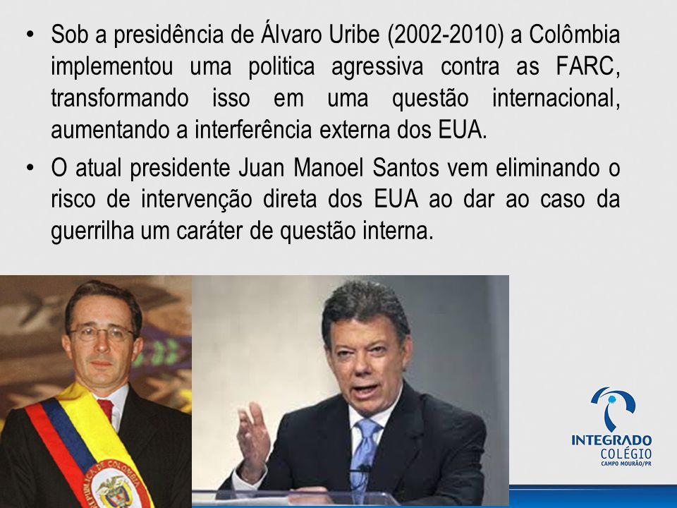 Sob a presidência de Álvaro Uribe (2002-2010) a Colômbia implementou uma politica agressiva contra as FARC, transformando isso em uma questão internacional, aumentando a interferência externa dos EUA.