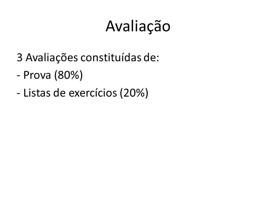 Avaliação 3 Avaliações constituídas de: - Prova (80%) - Listas de exercícios (20%)