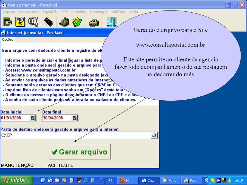 Gerando o arquivo para o Site www.consultapostal.com.br