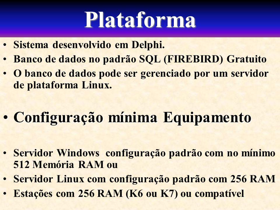 Plataforma Configuração mínima Equipamento
