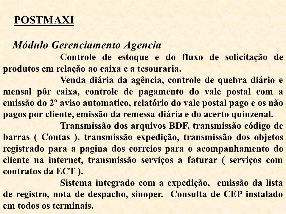 POSTMAXI Módulo Gerenciamento Agencia