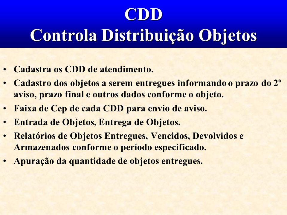 CDD Controla Distribuição Objetos