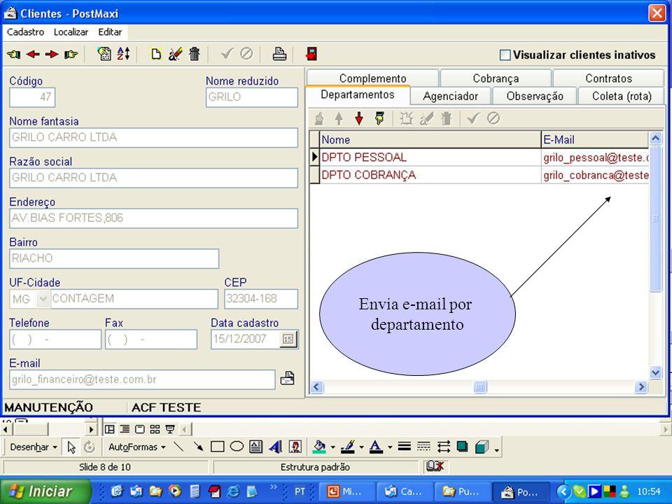 Envia e-mail por departamento Envia e-mail por departamento.