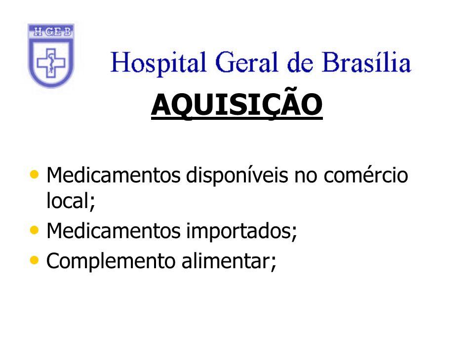 AQUISIÇÃO Medicamentos disponíveis no comércio local;
