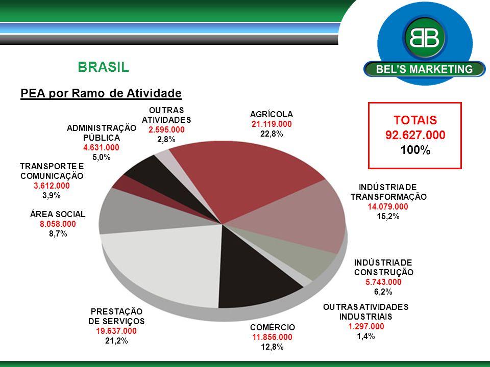 BRASIL PEA por Ramo de Atividade TOTAIS 92.627.000 100% OUTRAS