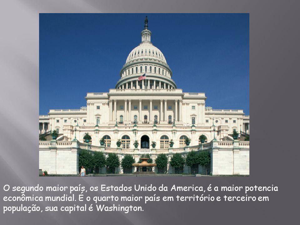 O segundo maior país, os Estados Unido da America, é a maior potencia econômica mundial.