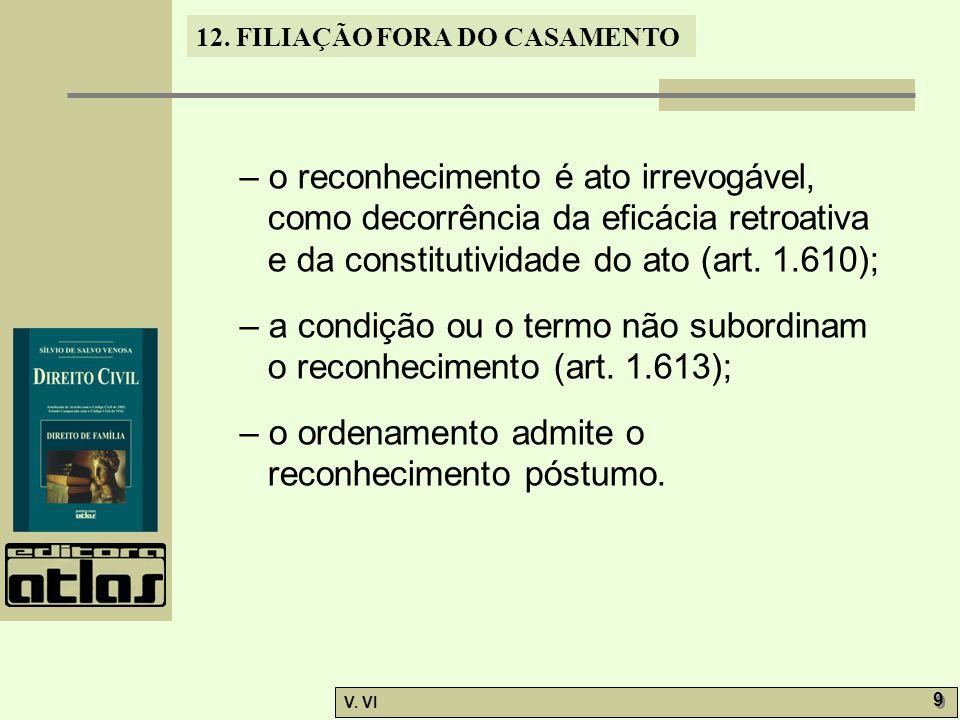 – o reconhecimento é ato irrevogável, como decorrência da eficácia retroativa e da constitutividade do ato (art. 1.610);
