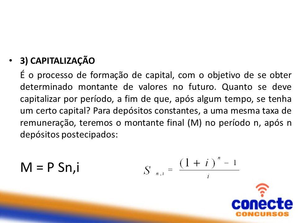 M = P Sn,i 3) CAPITALIZAÇÃO