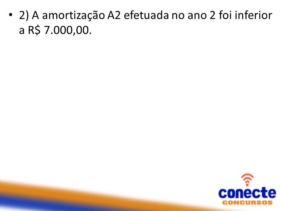 2) A amortização A2 efetuada no ano 2 foi inferior a R$ 7.000,00.