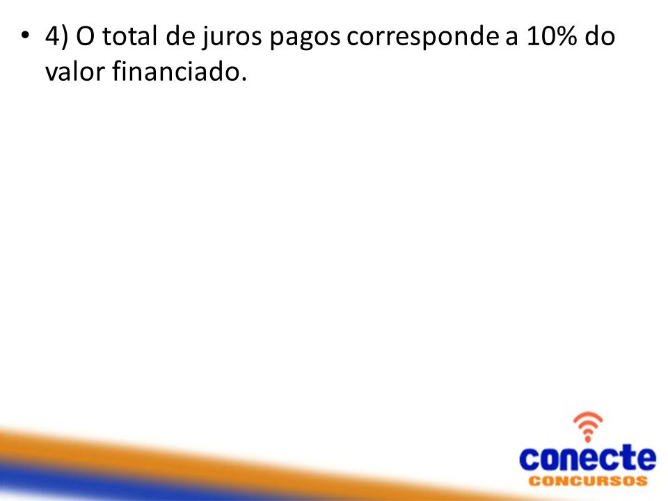 4) O total de juros pagos corresponde a 10% do valor financiado.