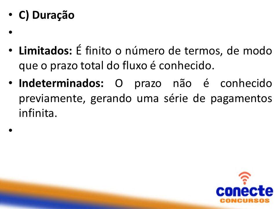C) Duração Limitados: É finito o número de termos, de modo que o prazo total do fluxo é conhecido.