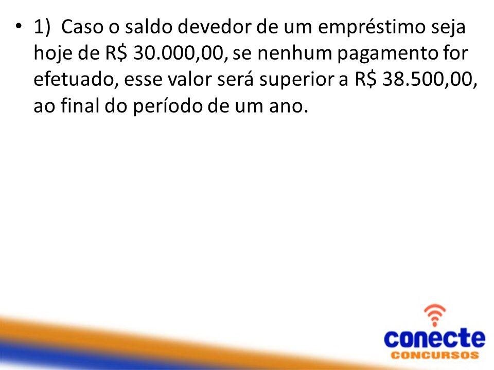 1) Caso o saldo devedor de um empréstimo seja hoje de R$ 30