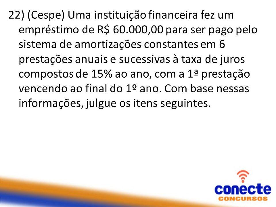 22) (Cespe) Uma instituição financeira fez um empréstimo de R$ 60