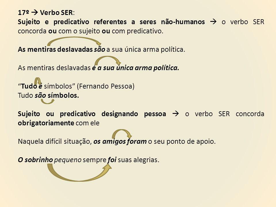 17º  Verbo SER: Sujeito e predicativo referentes a seres não-humanos  o verbo SER concorda ou com o sujeito ou com predicativo.