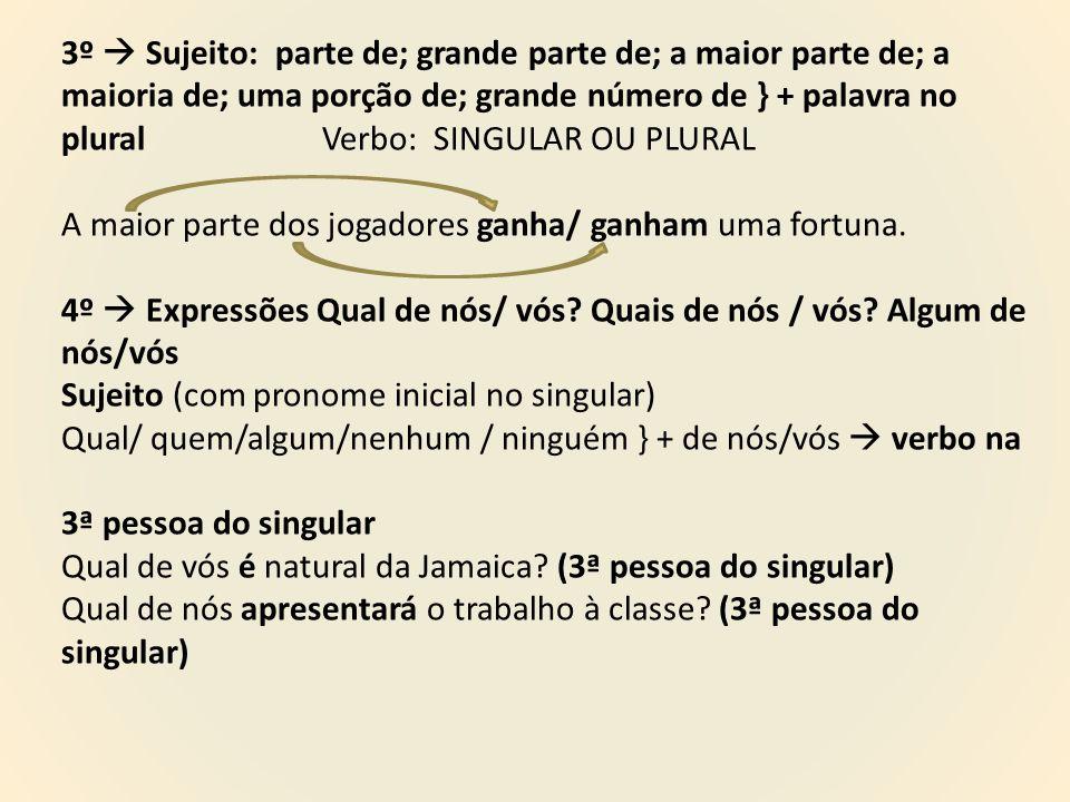 3º  Sujeito: parte de; grande parte de; a maior parte de; a maioria de; uma porção de; grande número de } + palavra no plural Verbo: SINGULAR OU PLURAL