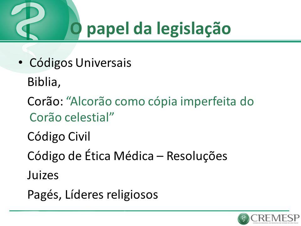 O papel da legislação Códigos Universais Biblia,