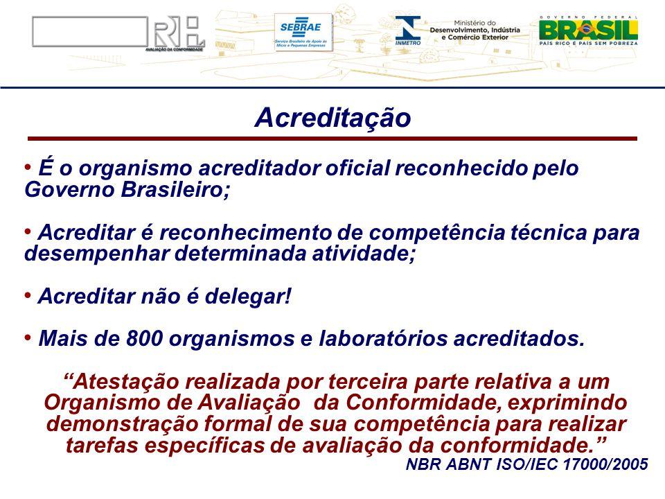 Acreditação É o organismo acreditador oficial reconhecido pelo Governo Brasileiro;