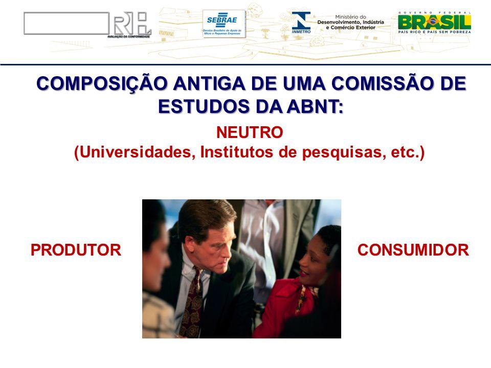 COMPOSIÇÃO ANTIGA DE UMA COMISSÃO DE ESTUDOS DA ABNT: